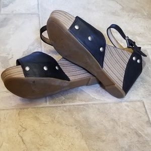Lucky Brand Shoes - Lucky Brand 6 Marshha Black Studded Wedges